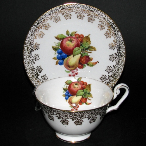 Windsor Gilt Fruit Bunch Teacup and Saucer