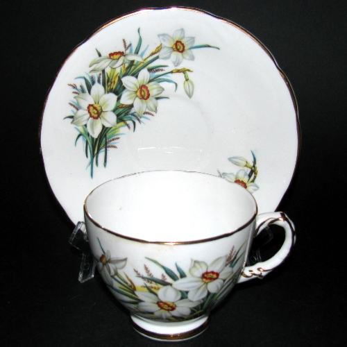 Delphine Floral Teacup and Saucer