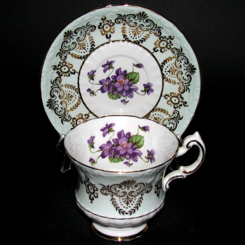 Paragon Blue Gilt Violets Teacup and Saucer