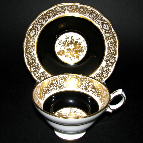 Hammersley Black White Gilt Teacup and Saucer