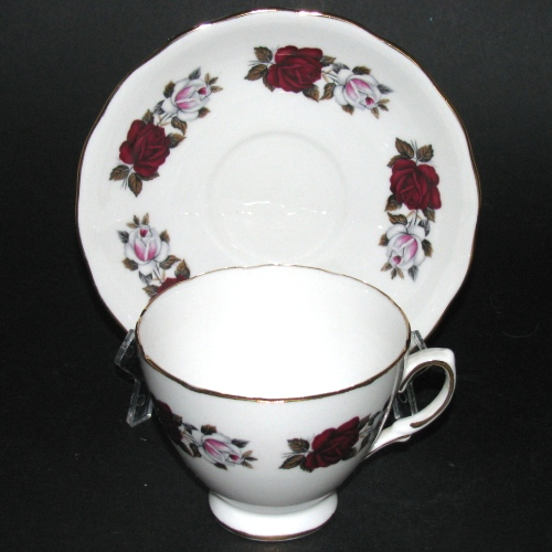 Royal Vale Red White Roses Teacup