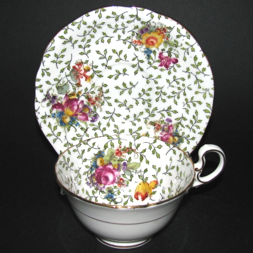 Aynsley Green Leaves Tulip Roses Teacup