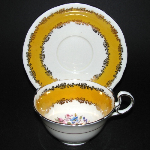 Aynsley Yellow Gilt Rose Floral Teacup