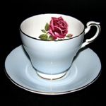 Blue Red Rose Teacup
