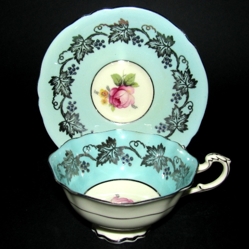 aragon Green Gilt Rose Teacup