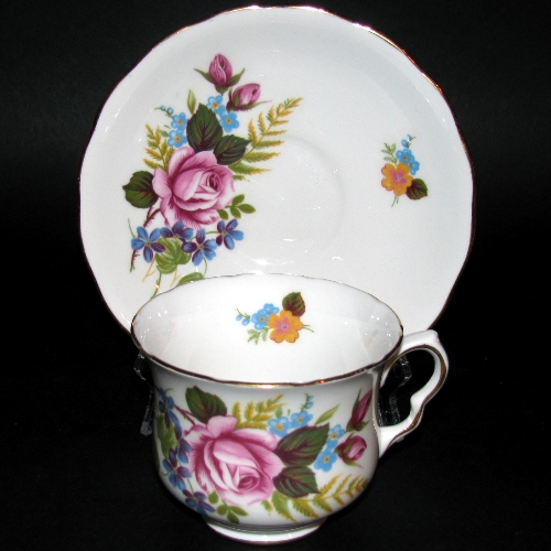 Queen Anne Pink Rose Forget-Me-Not Teacup
