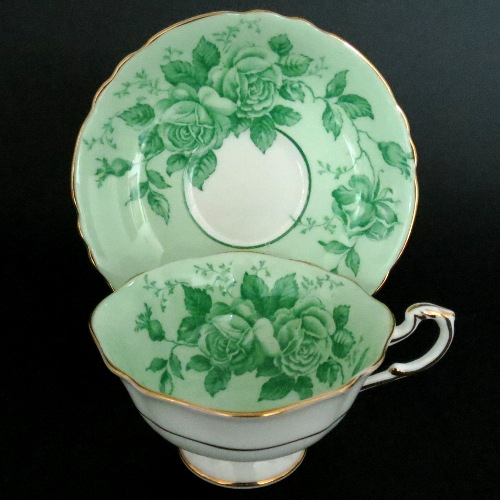 Paragon Green Roses Teacup