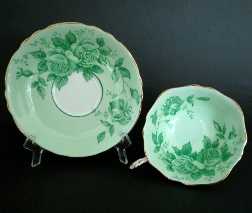 Paragon Green Roses Teacup and Saucer