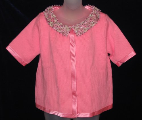 Vintage Pink Wool Beaded Sequin Sweater