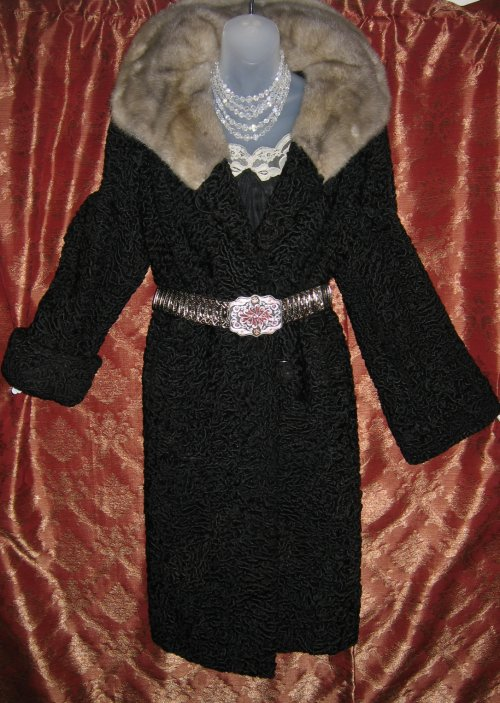 Silver Mink Square Collar Black Persian Lamb Coat