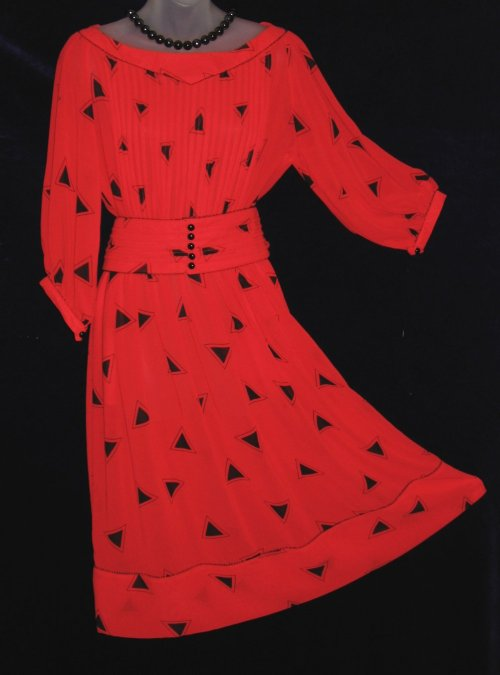 Albert Nipon Sheer Red Geometric Dress
