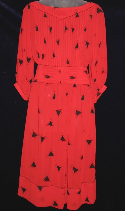 Albert Nipon Red Geometric Dress with Belt