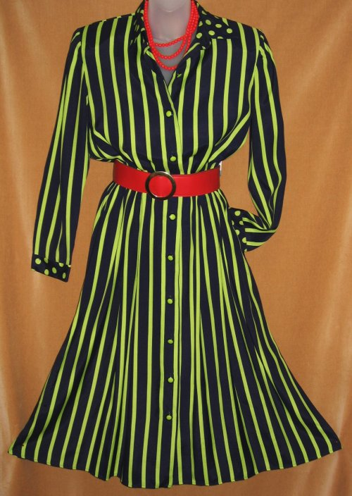 Leslie Fay Striped Polka Dot Shirt Dress