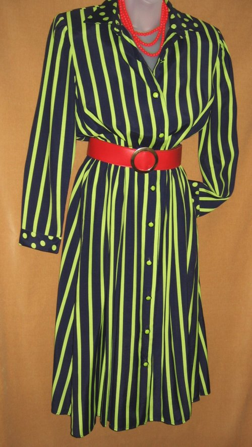 Vintage Leslie Fay Striped Polka Dot Shirt Dress