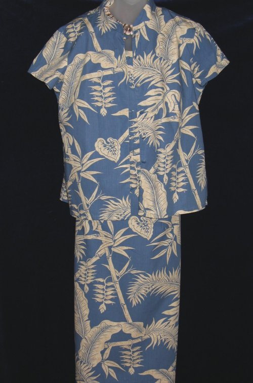 Hilo Hattie Blue Tropical Dress Set