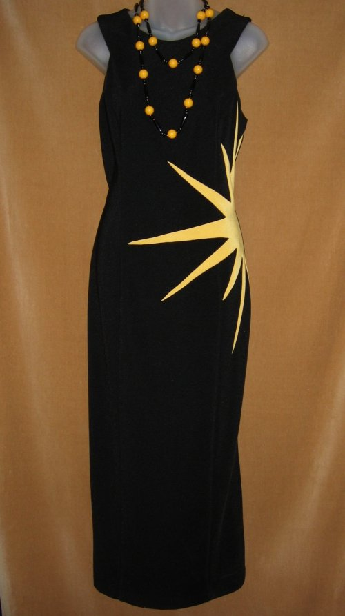 Joseph Ribkoff Sunburst Black Dress Gown