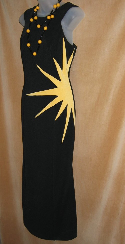 Vintage Joseph Ribkoff Sunburst Black Dress