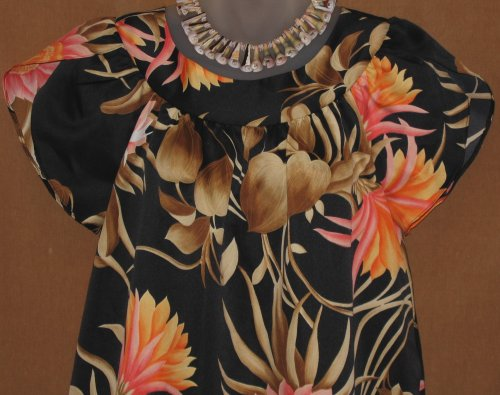 Hilo Hattie's Hawaiian Black Muumuu Peach Pink Tropical Flowers
