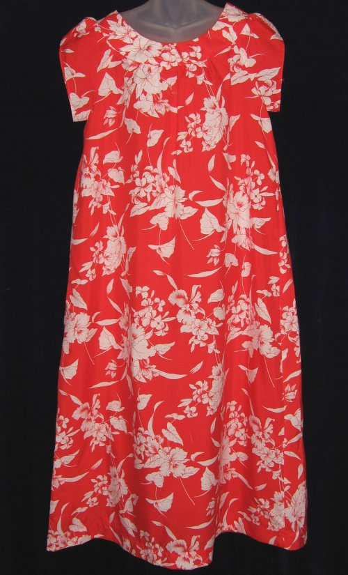 Hukilau Fashions Red Orchid Hawaiian Muumuu