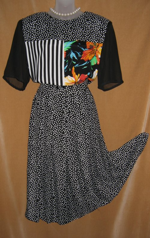 Joseph Ribkoff Sheer Black Polka Dot Striped Dress