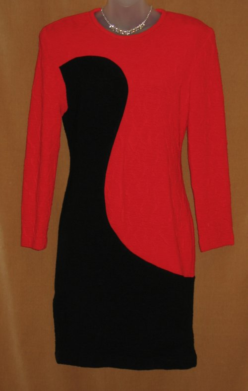 Joseph Ribkoff Red Black Wiggle Knit Dress