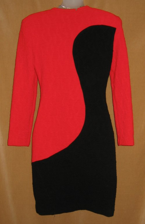 Joseph Ribkoff Red Black Wiggle Knit Dress Back View