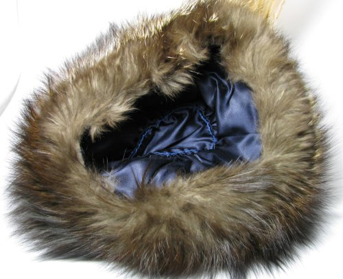 Blue Lining on Racoon Fur Hat