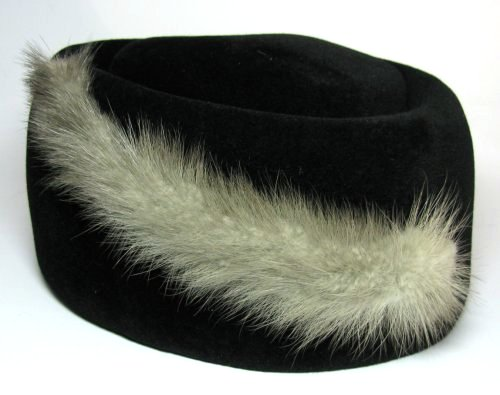 Retro Gray Mink Black Velvet Felt Fur Hat