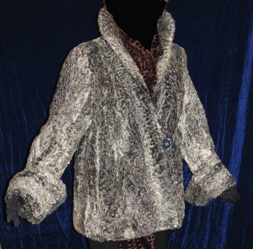 Gray Swing Trapeze Cuffed Persian Lamb Jacket