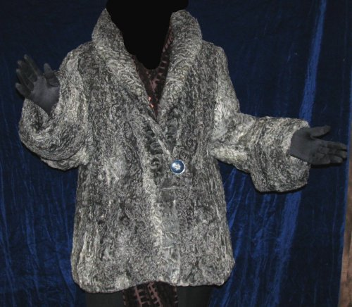 Vintage Gray Swing Trapeze Cuffed Persian Lamb Jacket