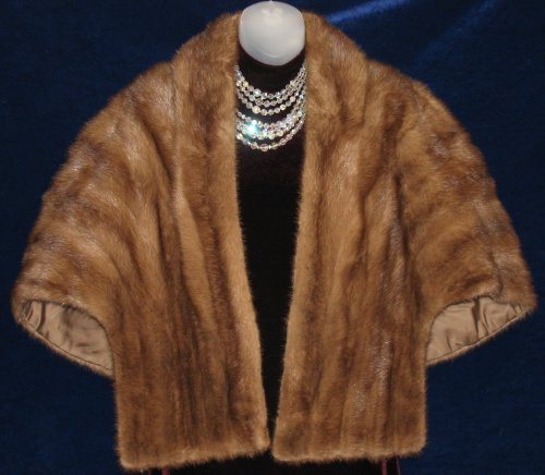 Mink Fur Stole Cape Short Glossy Brown