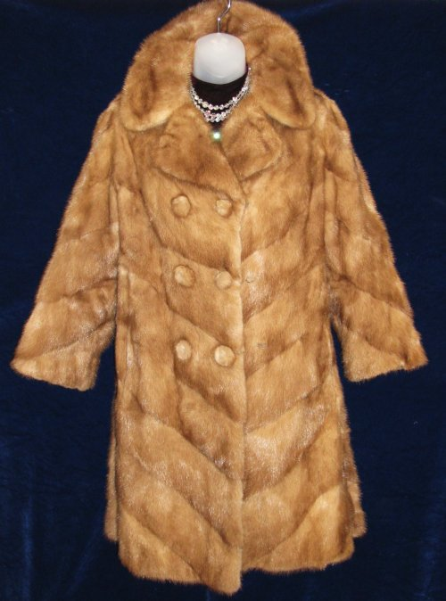 Mink Chevron Belted Fur Coat Jacket