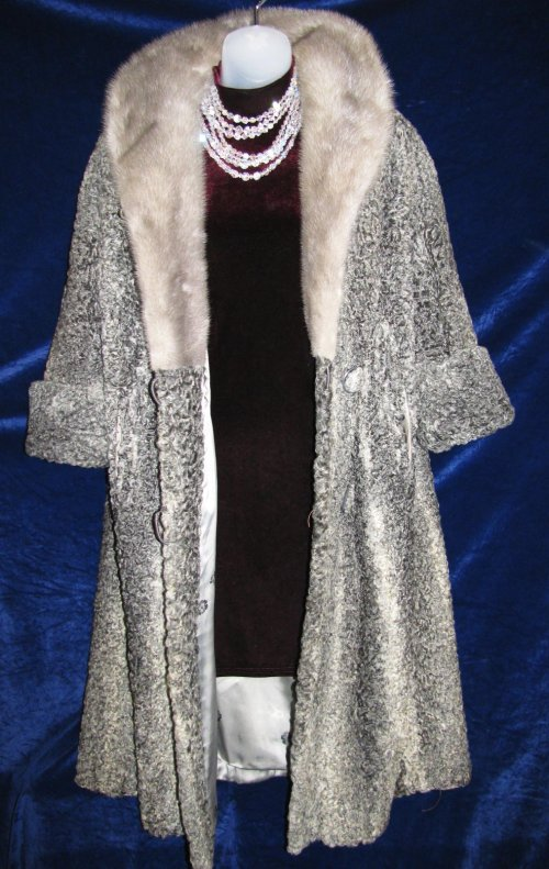 Curly Silver Gray Variegated Persian Lamb Fur Coat
