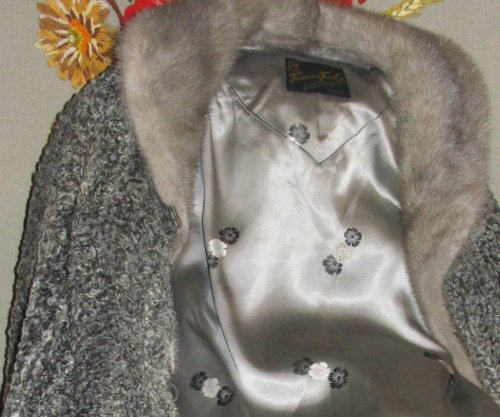 Silver Satin Lining on Fur Coat