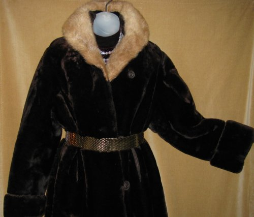 Trimmed Cuffs on Mouton Fur Coat