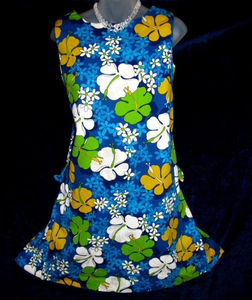ukilau Hawaiian Barkcloth Blue Flower Power Dress