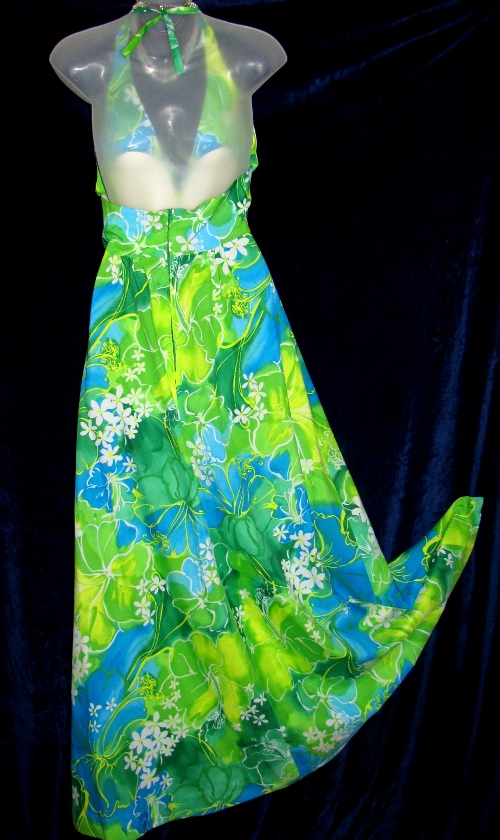 Hukilau Wide Sweep Halter Floral Hawaiian Dress Back View