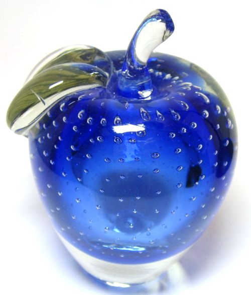 Controlled Bubble Blue Sommerso Apple Paperweight At Classy Option Lovely Piece