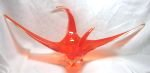 Chalet Red Orange Art Glass