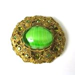 Green Cabochon Brooch