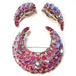 Fuchsia Necklace Brooch and Earrings Set