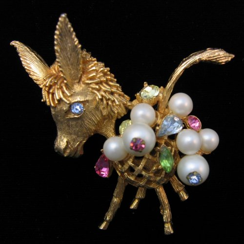 Shame! vintage donkey brooch the
