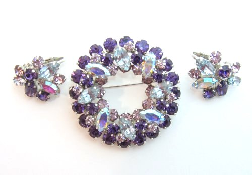 Sherman Purple Brooch and Earrings