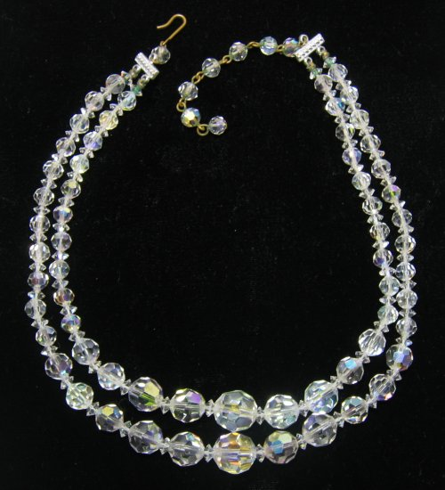 Vintage 2 Strand Crystal Necklace
