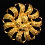 Monet Sun Swirl Gold Tone Brooch