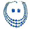 Blue Green Three Strand Crystal Necklace