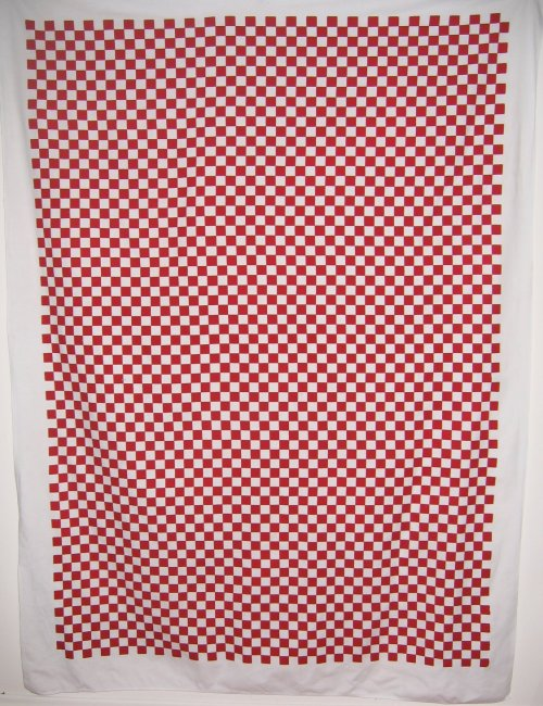 Vintage Artex Red Checkered Tablecloth