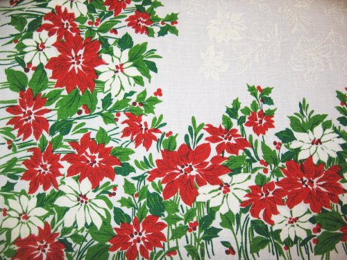 Vintage Christmas Phantom Poinsettia Tablecloth