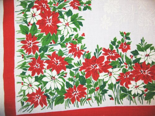 Poinsettia and Holly on Vintage Tablelcoth