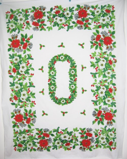 Vintage Poinsettia Apple Blossoms Tablecloth